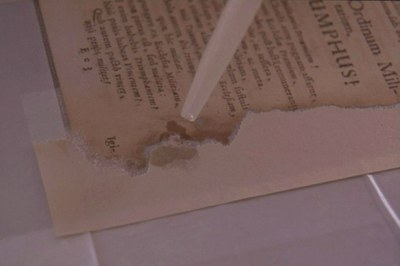 dolévání chybějících částí listů papírovinou